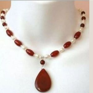Jewelry - Rice Pearl & Red Jade Necklace